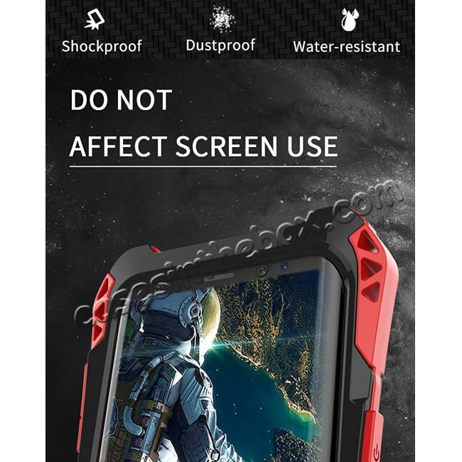 best price Aluminum Metal Bumper Silicone TPU Rugged Hard Shockproof Carbon Fiber Case for Samsung Galaxy S9 - Red