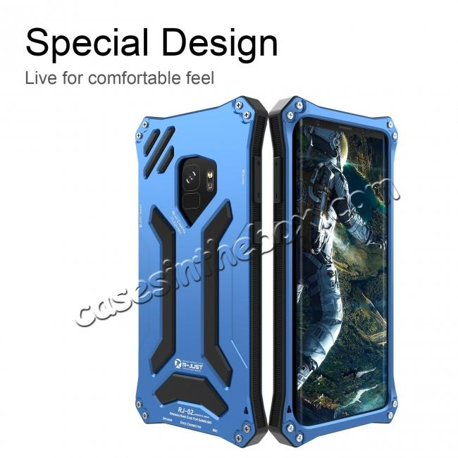 discount Aluminum Metal Silicone Shockproof Bumper Dropproof Shell Back Cover for Samsung Galaxy S9 - Blue