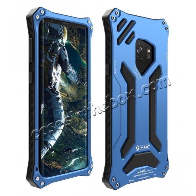 wholesale Aluminum Metal Silicone Shockproof Bumper Dropproof Shell Back Cover for Samsung Galaxy S9 - Blue