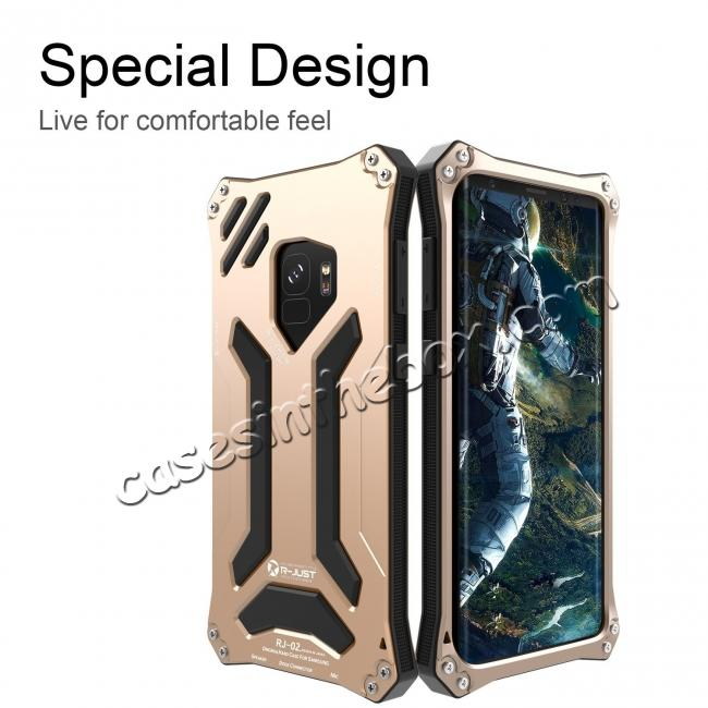 discount Aluminum Metal Silicone Shockproof Bumper Dropproof Shell Back Cover for Samsung Galaxy S9 - Gold