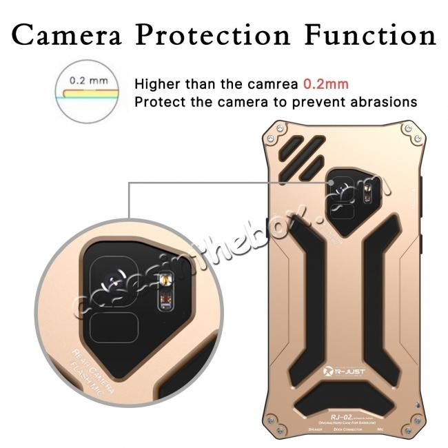 best price Aluminum Metal Silicone Shockproof Bumper Dropproof Shell Back Cover for Samsung Galaxy S9 - Gold