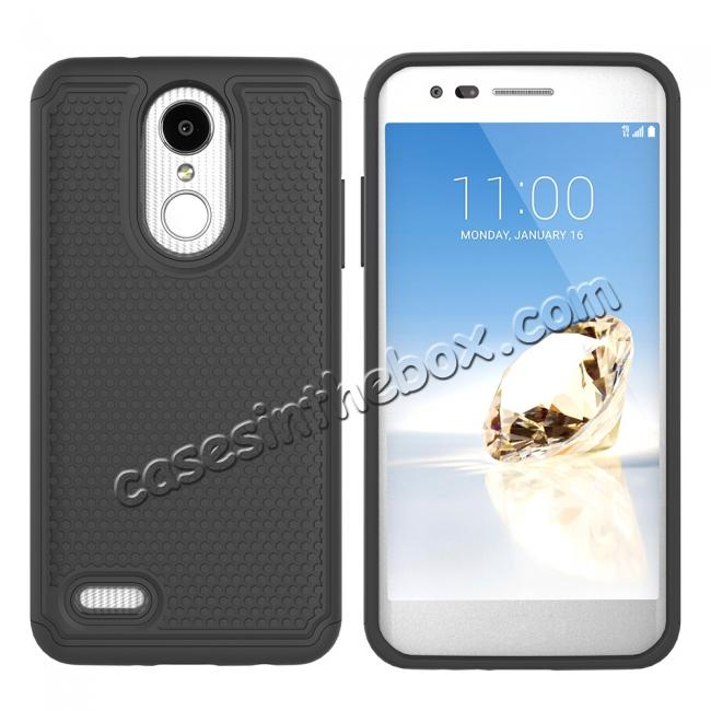 discount Full Body Hybrid Dual Layer ShockProof Protective Case For LG Tribute Dynasty / Aristo 2 - Black