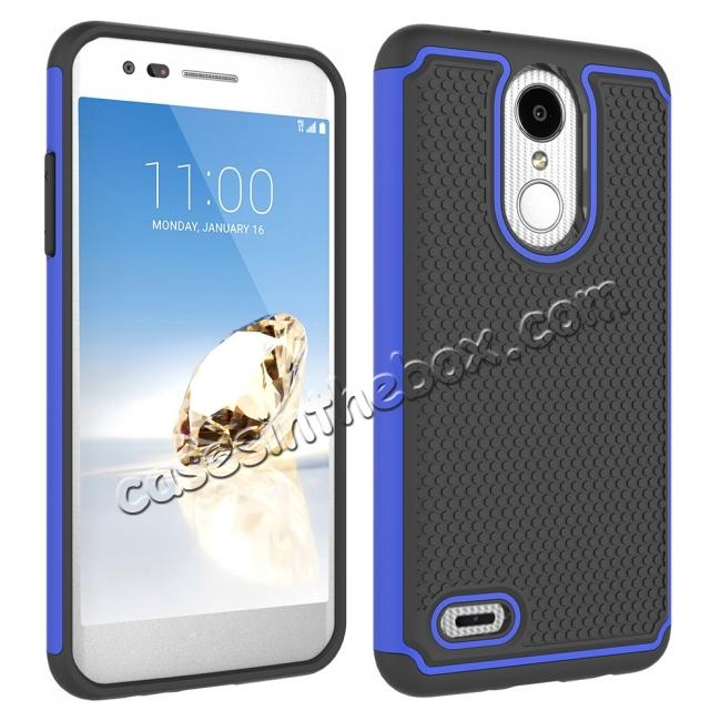 cheap Full Body Hybrid Dual Layer ShockProof Protective Case For LG Tribute Dynasty / Aristo 2 - Dark blue