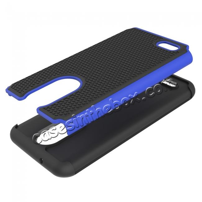 low price Full Body Hybrid Dual Layer ShockProof Protective Case For LG Tribute Dynasty / Aristo 2 - Dark blue