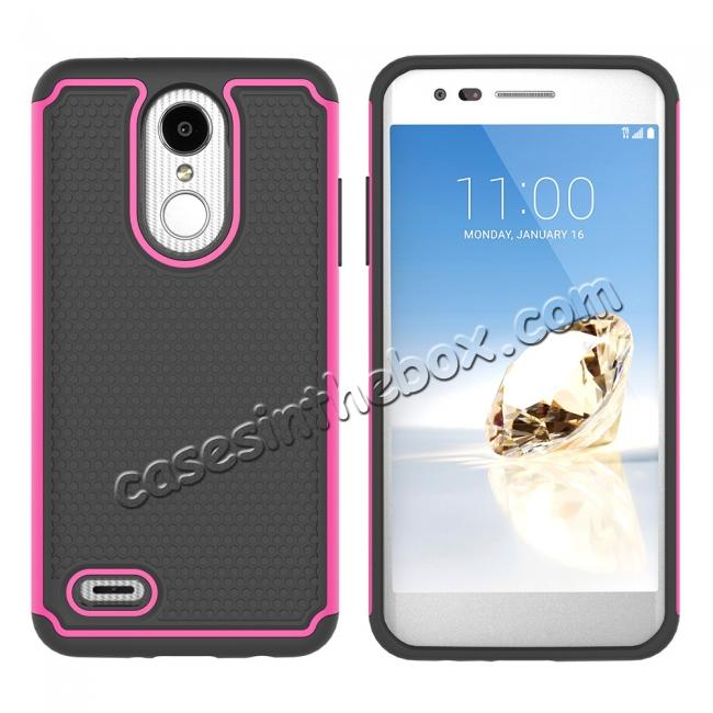 discount Full Body Hybrid Dual Layer ShockProof Protective Case For LG Tribute Dynasty / Aristo 2 - Hot pink