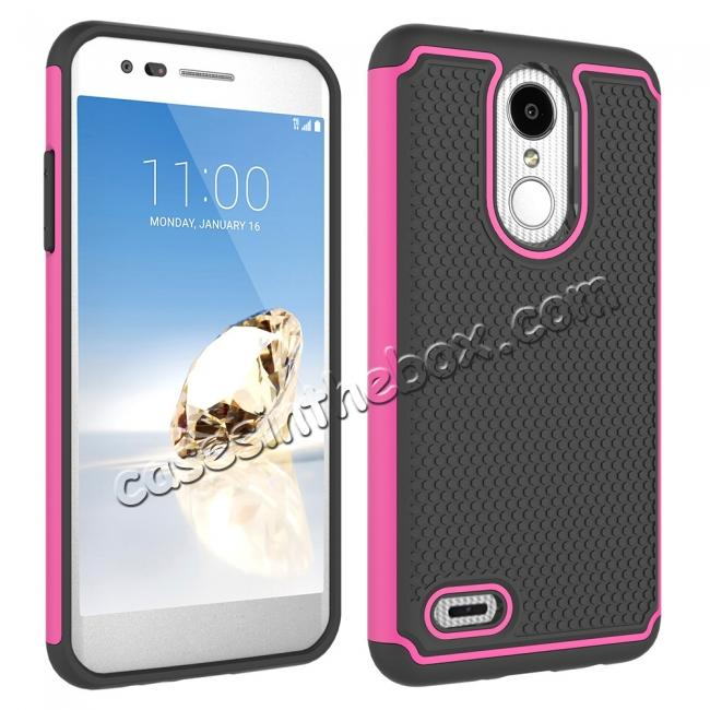 cheap Full Body Hybrid Dual Layer ShockProof Protective Case For LG Tribute Dynasty / Aristo 2 - Hot pink