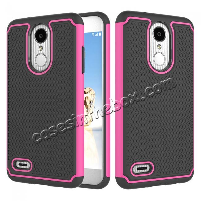 wholesale Full Body Hybrid Dual Layer ShockProof Protective Case For LG Tribute Dynasty / Aristo 2 - Hot pink