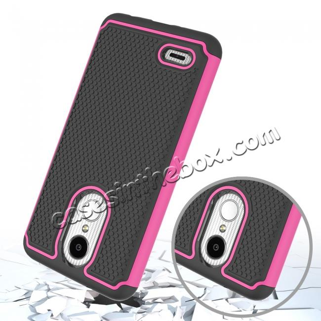 top quality Full Body Hybrid Dual Layer ShockProof Protective Case For LG Tribute Dynasty / Aristo 2 - Hot pink