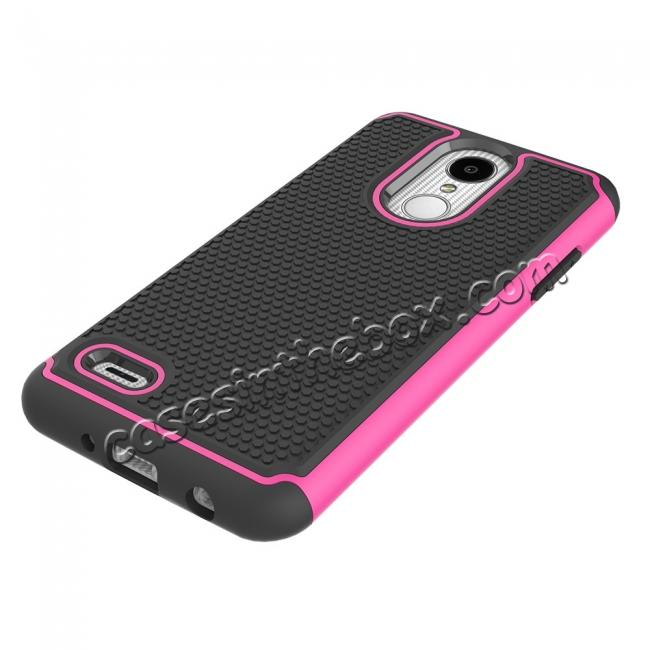 best price Full Body Hybrid Dual Layer ShockProof Protective Case For LG Tribute Dynasty / Aristo 2 - Hot pink
