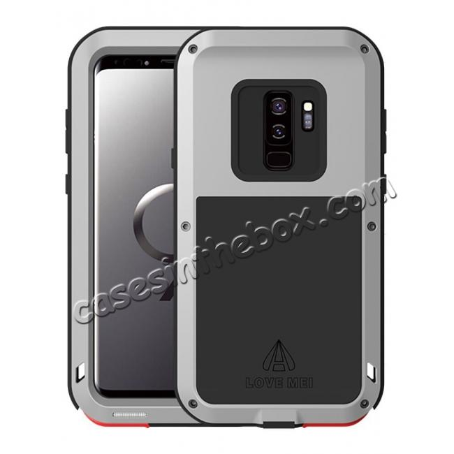 wholesale Heavy Duty Shockproof Dual Layer Bumper Case Cover for Samsung Galaxy S9 Plus - Silver