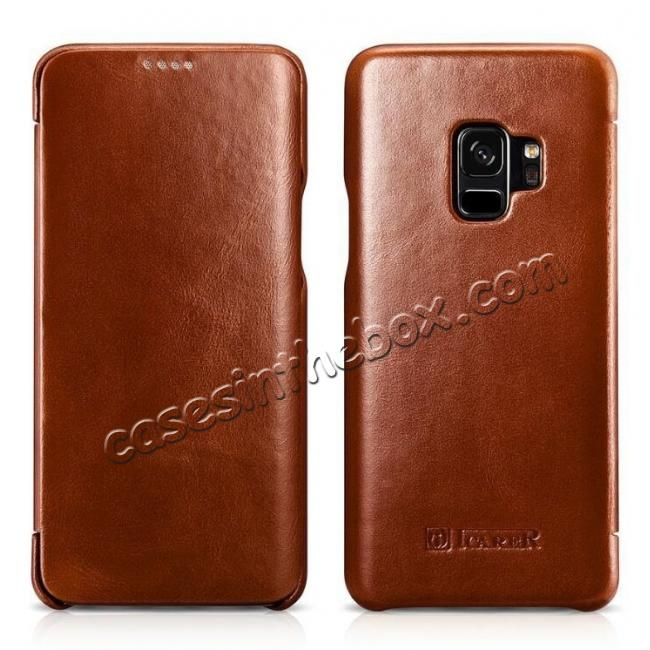 discount ICARER Curved Edge Genuine Leather Flip Case For Samsung Galaxy S9+ Plus - Brown