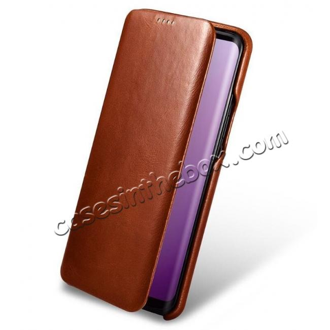 top quality ICARER Curved Edge Genuine Leather Flip Case For Samsung Galaxy S9+ Plus - Brown