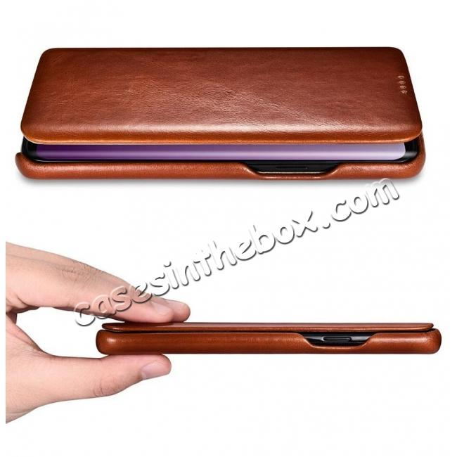cheap ICARER Curved Edge Genuine Leather Flip Case For Samsung Galaxy S9+ Plus - Brown
