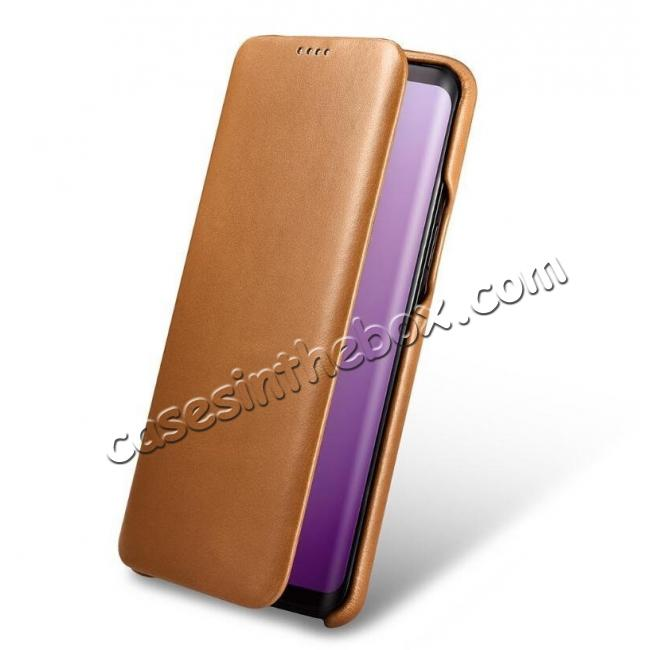 leather case for samsung galaxy s9 plus icarer curved edge genuine leather flip case for. Black Bedroom Furniture Sets. Home Design Ideas