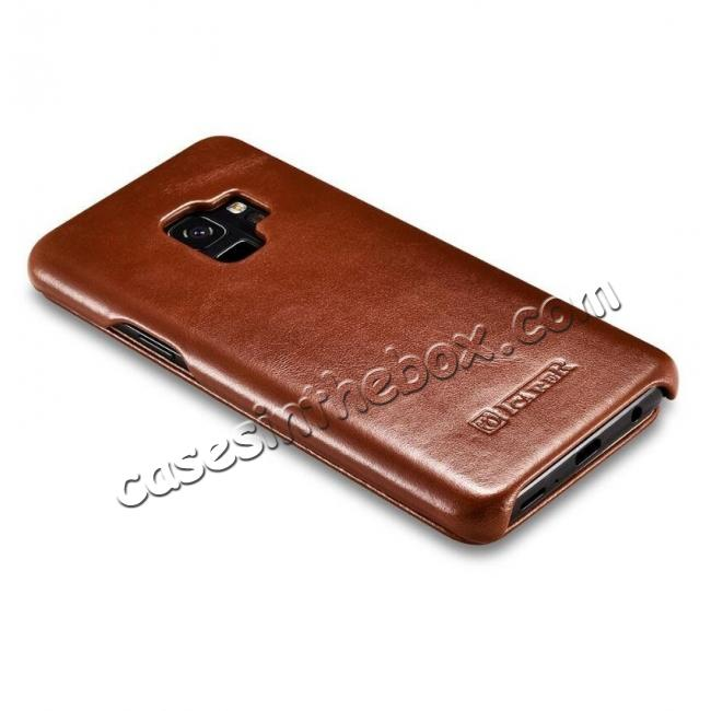 best price ICARER Curved Edge Vintage Genuine Leather Flip Case For Samsung Galaxy S9 - Brown