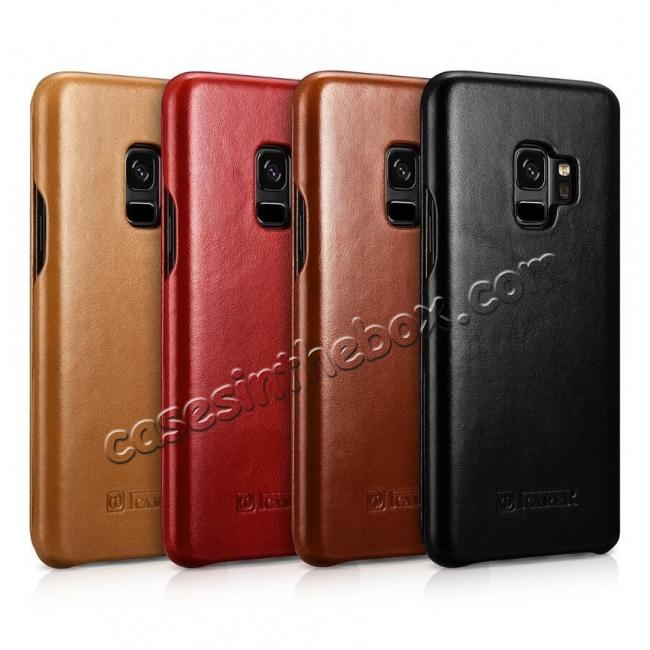 high quanlity ICARER Curved Edge Vintage Genuine Leather Flip Case For Samsung Galaxy S9 - Brown
