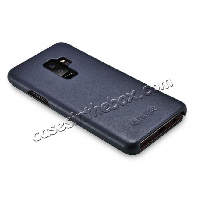 top quality ICARER Luxury Series Genuine Leather Side-Open Folio Flip Case Cover for Samsung Galaxy S9 - Dark Blue