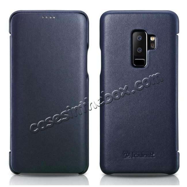 discount ICARER Luxury Series Genuine Leather Side-Open Folio Flip Case Cover for Samsung Galaxy S9 - Dark Blue