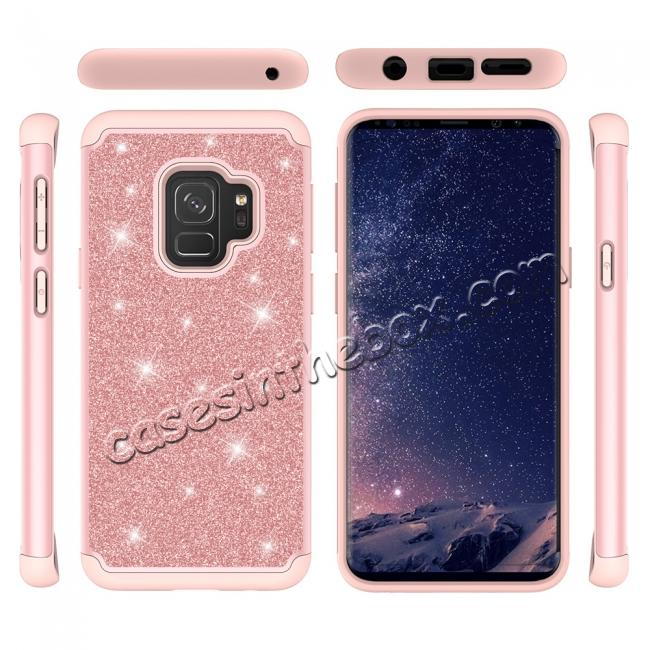 discount Luxury Glitter Bling Hybrid Shockproof Protective Case for Samsung Galaxy S9 -Rose gold