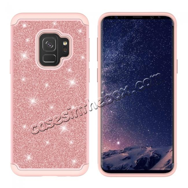 cheap Luxury Glitter Bling Hybrid Shockproof Protective Case for Samsung Galaxy S9 -Rose gold