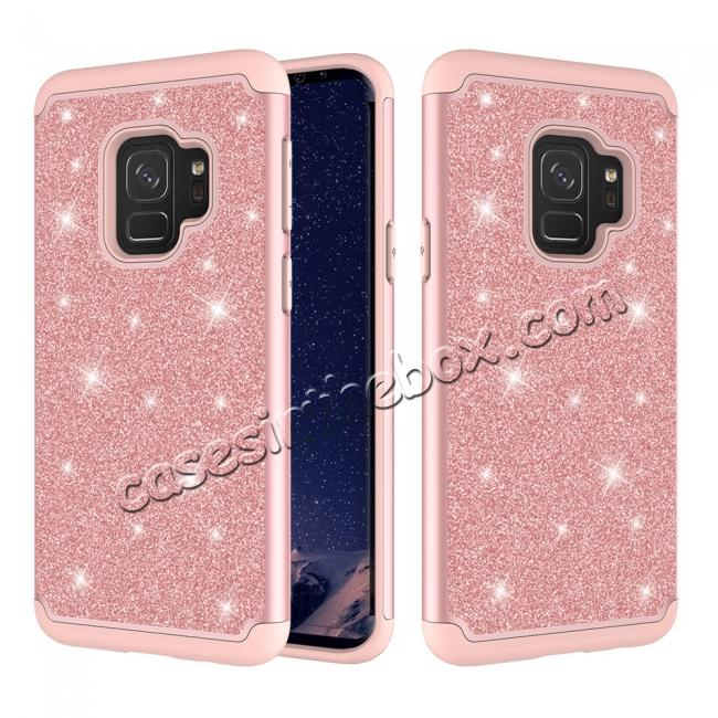 wholesale Luxury Glitter Bling Hybrid Shockproof Protective Case for Samsung Galaxy S9 -Rose gold