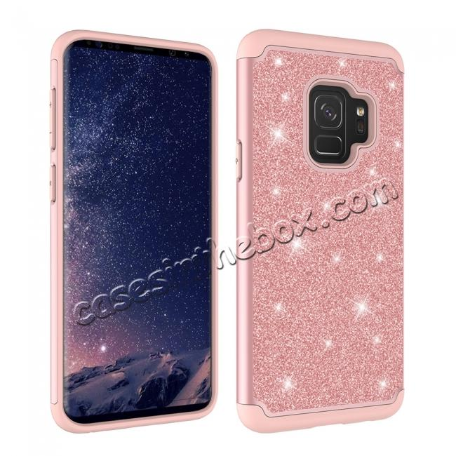 top quality Luxury Glitter Bling Hybrid Shockproof Protective Case for Samsung Galaxy S9 -Rose gold