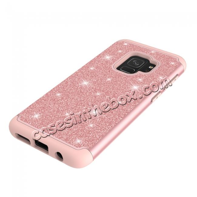 on sale Luxury Glitter Bling Hybrid Shockproof Protective Case for Samsung Galaxy S9 -Rose gold