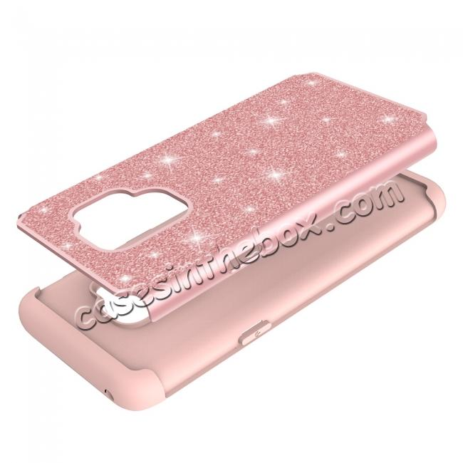 high quanlity Luxury Glitter Bling Hybrid Shockproof Protective Case for Samsung Galaxy S9 -Rose gold