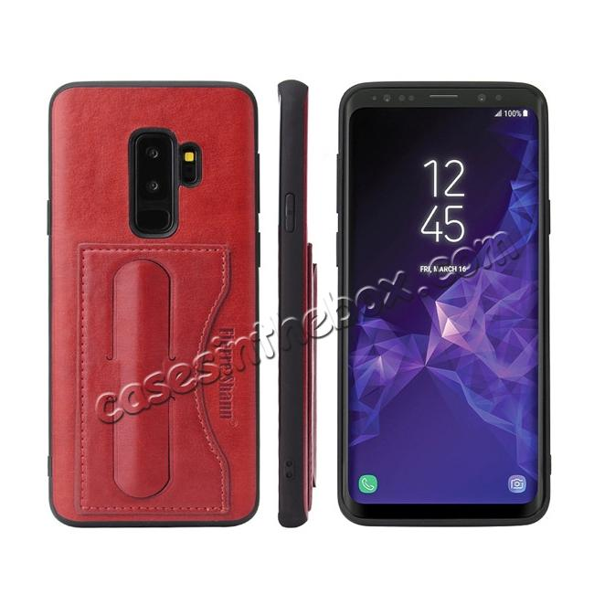 wholesale Luxury Leather Slim Cover Back Cover with Credit Card Slot for Samsung Galaxy S9 - Red