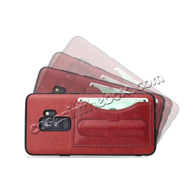 discount Luxury Leather Slim Cover Back Cover with Credit Card Slot for Samsung Galaxy S9 - Red