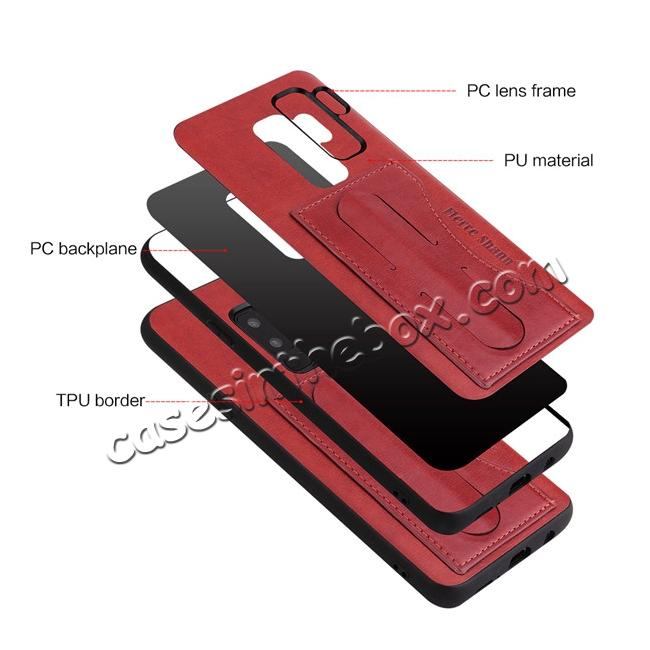 low price Luxury Leather Slim Cover Back Cover with Credit Card Slot for Samsung Galaxy S9 - Red