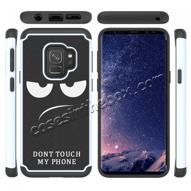 top quality Patterned Hard TPU Hybrid Shockproof Phone Case Cover For Samsung Galaxy S9 - White&Black
