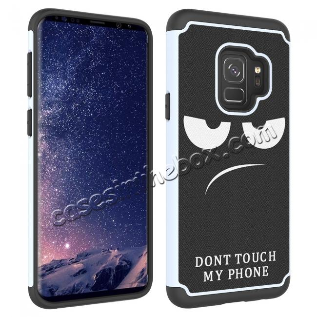 best price Patterned Hard TPU Hybrid Shockproof Phone Case Cover For Samsung Galaxy S9 - White&Black
