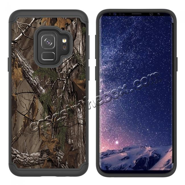 cheap Patterned Hard TPU Hybrid Shockproof Phone Case Cover For Samsung Galaxy S9 - Wood Camo