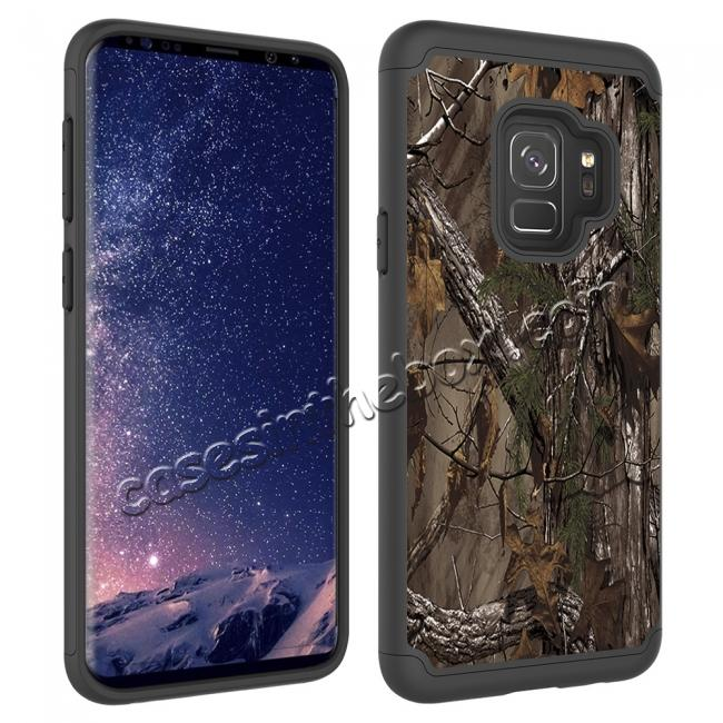 best price Patterned Hard TPU Hybrid Shockproof Phone Case Cover For Samsung Galaxy S9 - Wood Camo