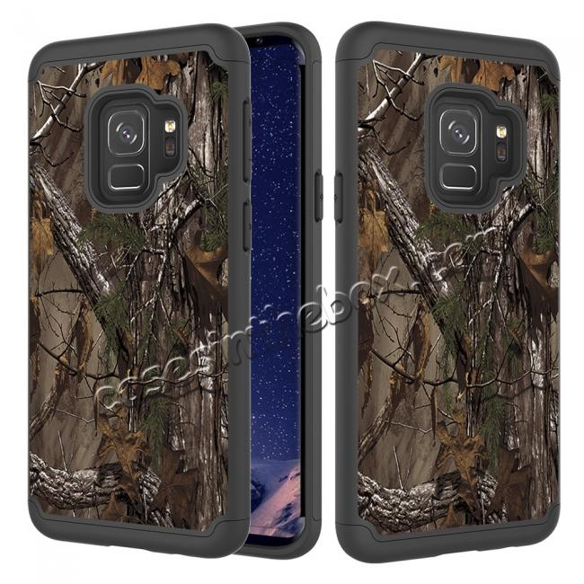 wholesale Patterned Hard TPU Hybrid Shockproof Phone Case Cover For Samsung Galaxy S9 - Wood Camo