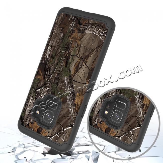 discount Patterned Hard TPU Hybrid Shockproof Phone Case Cover For Samsung Galaxy S9 - Wood Camo
