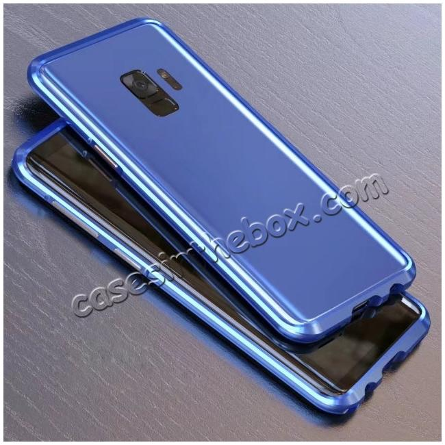 discount Shockproof Aluminum Metal Frame Bumper Case for Samsung Galaxy S9 - Blue