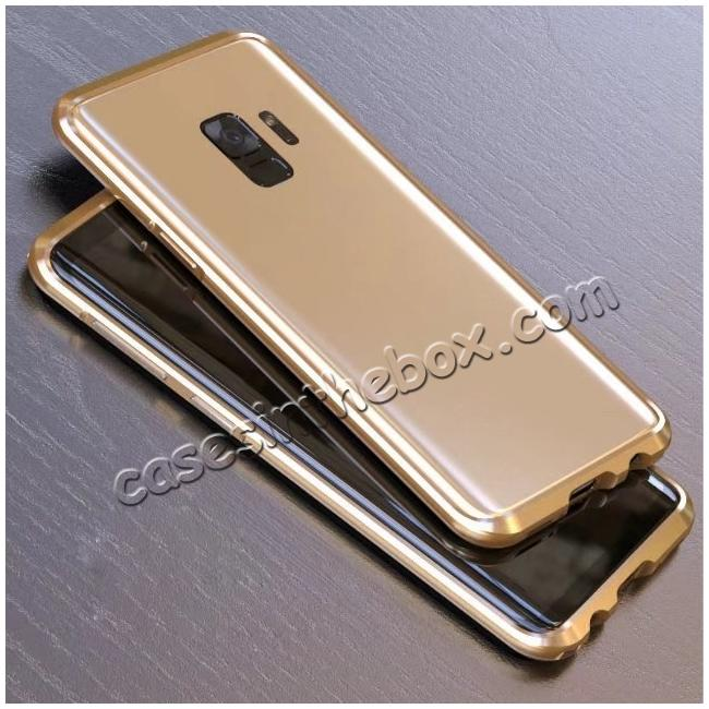 discount Shockproof Aluminum Metal Frame Bumper Case for Samsung Galaxy S9 - Gold