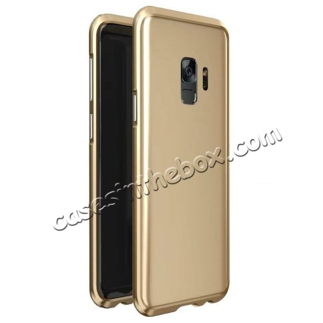 wholesale Shockproof Aluminum Metal Frame Bumper Case for Samsung Galaxy S9 - Gold
