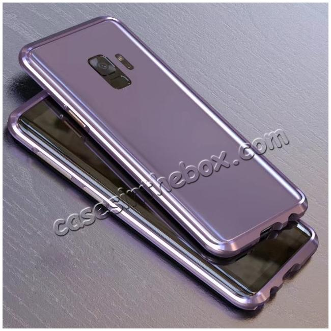 discount Shockproof Aluminum Metal Frame Bumper Case for Samsung Galaxy S9 - Light Purple
