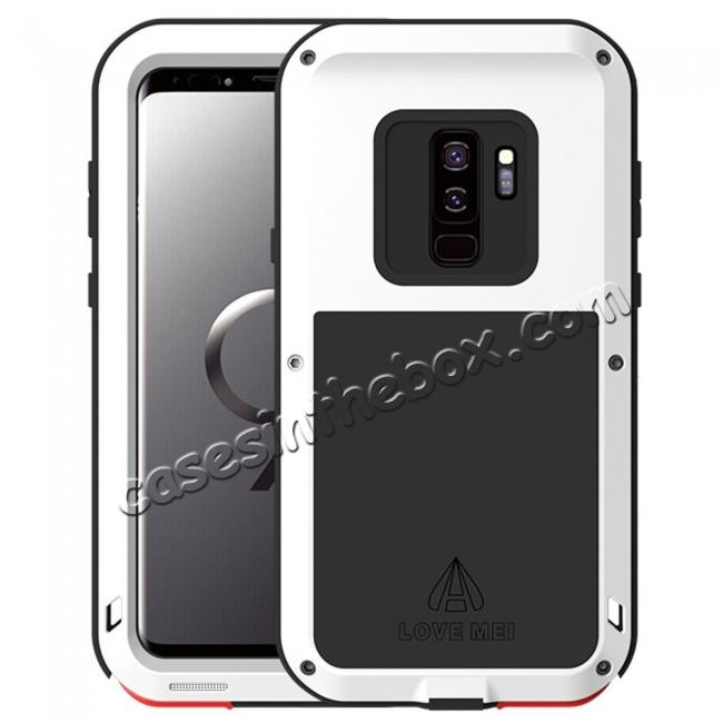 wholesale Shockproof Silicone Aluminum Metal Armor Heavy Duty Cover Case for Samsung Galaxy S9 - White