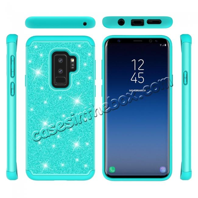 discount Sparkly Glitter Shockproof Hybrid Phone Case Cover for Samsung Galaxy S9 Plus - Teal