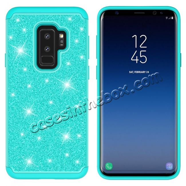 cheap Sparkly Glitter Shockproof Hybrid Phone Case Cover for Samsung Galaxy S9 Plus - Teal