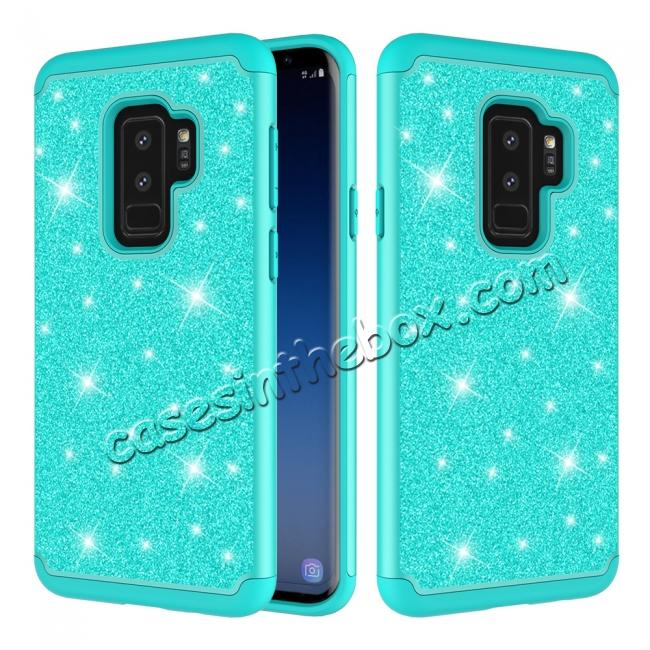 wholesale Sparkly Glitter Shockproof Hybrid Phone Case Cover for Samsung Galaxy S9 Plus - Teal