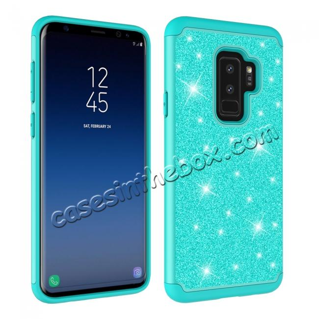 best price Sparkly Glitter Shockproof Hybrid Phone Case Cover for Samsung Galaxy S9 Plus - Teal