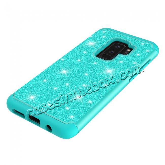 on sale Sparkly Glitter Shockproof Hybrid Phone Case Cover for Samsung Galaxy S9 Plus - Teal