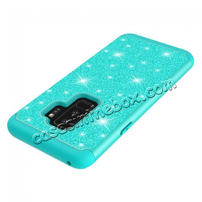 low price Sparkly Glitter Shockproof Hybrid Phone Case Cover for Samsung Galaxy S9 Plus - Teal