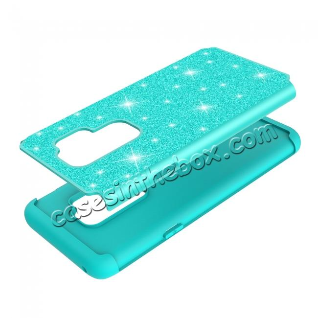 high quanlity Sparkly Glitter Shockproof Hybrid Phone Case Cover for Samsung Galaxy S9 Plus - Teal