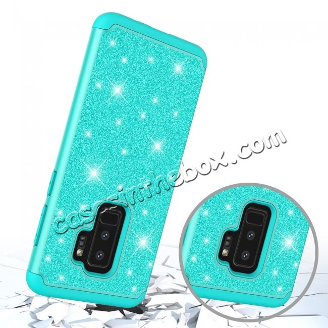 top quality Sparkly Glitter Shockproof Hybrid Phone Case Cover for Samsung Galaxy S9 Plus - Teal